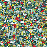 Holidays seamless pattern Stock Photo