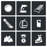 Holidays at seaside and in the mountains icons set. Vector Illustration. Royalty Free Stock Photo