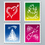 Holidays. The set of holiday stamps royalty free illustration