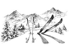 Holidays at ski. Background, mountains panorama in winter sketch royalty free illustration