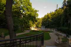 Holidays - spa Iwonicz, Poland. Alleys in the spa park Stock Photos