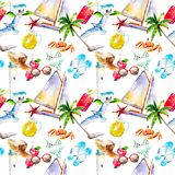 Holidays summer background, hand-drawn watercolor seamless pattern. Stock Image