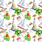 Holidays summer background, hand-drawn watercolor seamless pattern on white. Stock Photo