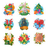 Holidays symbols icons vector isolated Stock Images