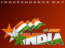 Holidays template with Celebration of India with orange, white and green stars for Indian Independence Day Stock Images
