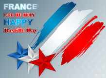 Holidays template with grunge, brush texture on national flag colors for France Independence Day Royalty Free Stock Photo