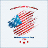 Holidays template with grunge texture on national flag colors  for fourth July, American Independence Day Stock Photography