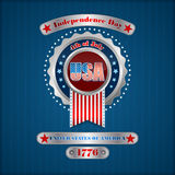 Holidays template with metallic badge and riveted silver plates  for fourth July, American Independence Day Stock Photography