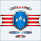 Holidays template with metallic shield, riveted silver plates and national flag colors for fourth July, American Royalty Free Stock Images