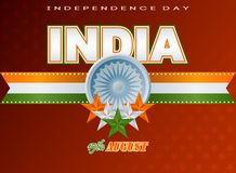 Holidays template with orange, white and green stars and Ashoka whee for Indian Independence Dayl Stock Image
