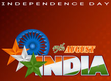 Holidays template with orange, white and green stars and Ashoka wheel for Indian Independence Day Stock Images