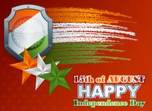 Holidays template with shield painted in national flag colors:Orange, white and green for Indian Independence Day Stock Photo