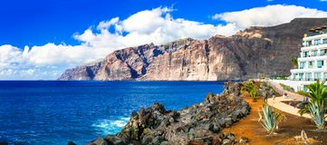 Holidays in Tenerife. impressive Los Gigantes bay. Canary island stock images