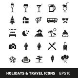 Holidays and Traveling Icon Set Royalty Free Stock Photo