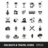 Holidays and Traveling Icon Set Royalty Free Stock Photo