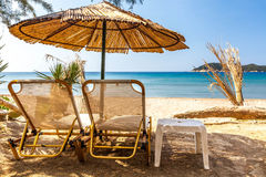 Holidays under parasol at Andaman Sea. Photo taken in Thailand Royalty Free Stock Photography