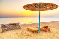 Holidays under parasol on the beach of Red Sea. Egypt Royalty Free Stock Photography