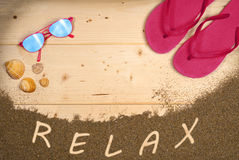 Holidays, vacation, beach objects, shells, natural wood. Relax on the beach Stock Image