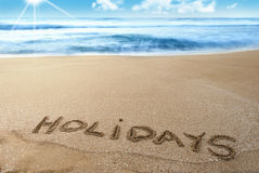 Holidays, vacation. Vacation on sea, relax under sun Stock Photography