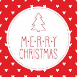 Holidays vector card with christmas tree on hearts red background Stock Image