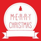 Holidays vector card with Merry Christmas wish on red background Royalty Free Stock Photo