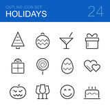 Holidays vector outline icon set vector illustration