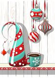 Holidays motive, Christmas decorations with abstract cone tree and cup of coffee, illustration Royalty Free Stock Image