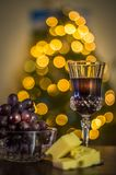 Holidays with wine and cheese Royalty Free Stock Image