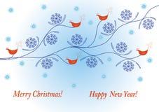 Holidays winter card with birds Stock Photos