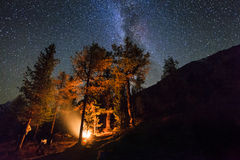 Holidays in the woods near the fire in the night  sky Royalty Free Stock Photo
