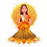 Holika w ogieniu dla Holi festiwalu świętowania ilustracji
