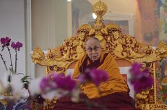 Holiness Dalai lama in Bodhgaya, India. Bodhgaya, India, 05 Jan 2018- Holiness Dalai Lama addressed during teaching the gathering at kalachakra ground in Royalty Free Stock Photography