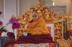 Holiness Dalai lama in Bodhgaya, India. Bodhgaya, India, 05 Jan 2018- Holiness Dalai Lama addressed during teaching the gathering at kalachakra ground in Royalty Free Stock Image