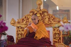 Holiness Dalai lama in Bodhgaya, India. Bodhgaya, India, 05 Jan 2018- Holiness Dalai Lama addressed during teaching the gathering at kalachakra ground in Stock Images