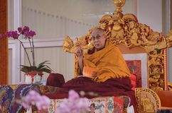 Holiness Dalai lama in Bodhgaya, India. Bodhgaya, India, 05 Jan 2018- Holiness Dalai Lama addressed during teaching the gathering at kalachakra ground in Stock Photos