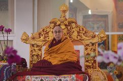 Holiness Dalai lama in Bodhgaya, India. Bodhgaya, India, 05 Jan 2018- Holiness Dalai Lama addressed during teaching the gathering at kalachakra ground in Royalty Free Stock Photos