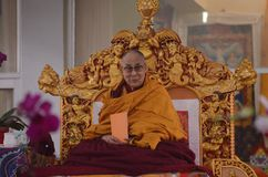Holiness Dalai lama in Bodhgaya, India. Bodhgaya, India, 05 Jan 2018- Holiness Dalai Lama addressed during teaching the gathering at kalachakra ground in Stock Photo
