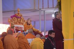 Holiness Dalai lama in Bodhgaya, India. Bodhgaya, India, 05 Jan 2018- Holiness Dalai Lama addressed during teaching the gathering at kalachakra ground in Royalty Free Stock Images