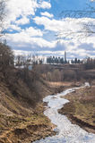 Holinka河谷在早期的春天 勒热夫,特维尔地区 库存照片