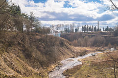 Holinka河谷在早期的春天 勒热夫,特维尔地区 库存图片