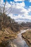 Holinka河谷在早期的春天 勒热夫,特维尔地区 图库摄影