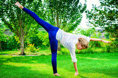 Holistic. Beautiful young woman doing yoga in the summer park. Healthy lifestyle. Yoga Stock Image