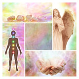 Holistic collage with blank middle panel. Four different holistic image including an Angel, chakra diagram, healing hands, healing crystals and a blank parchment Stock Photos