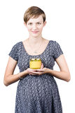 Holistic naturopath holding jar of homemade spread Stock Photography