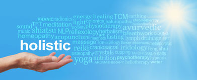 Holistic Therapy Blue Sky Word Cloud Royalty Free Stock Photo