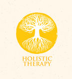 Holistic Therapy Tree With Roots On Organic Paper Background. Natural Eco Friendly Medicine Vector Concept.  Stock Images