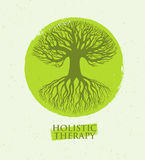 Holistic Therapy Tree With Roots On Organic Paper Background. Natural Eco Friendly Medicine Vector Concept.  Royalty Free Stock Images