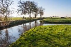 Holländische Polderlandschaft im Herbst Stockbilder