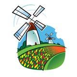 Holländische Windmühlen und Tulpe-Blumen vektor abbildung