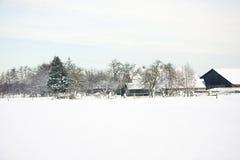 Holländischer Bauernhof im Schnee Stockbilder